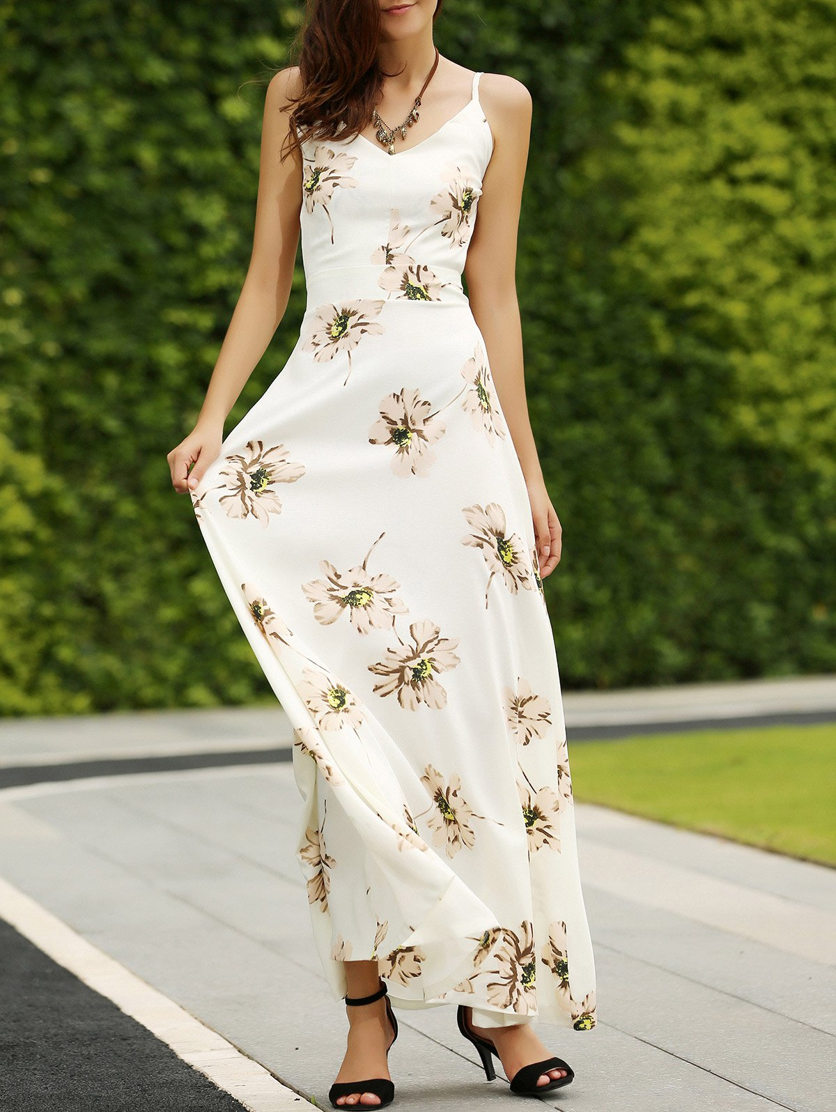 Spaghetti Straps Backless Floral Print Maxi Dress