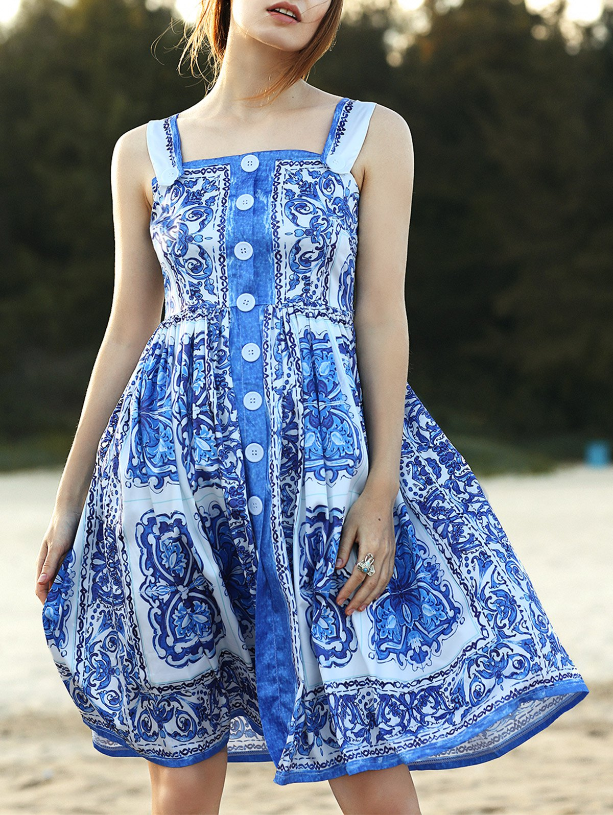 Fitting Floral Print Straps Sleeveless Dress