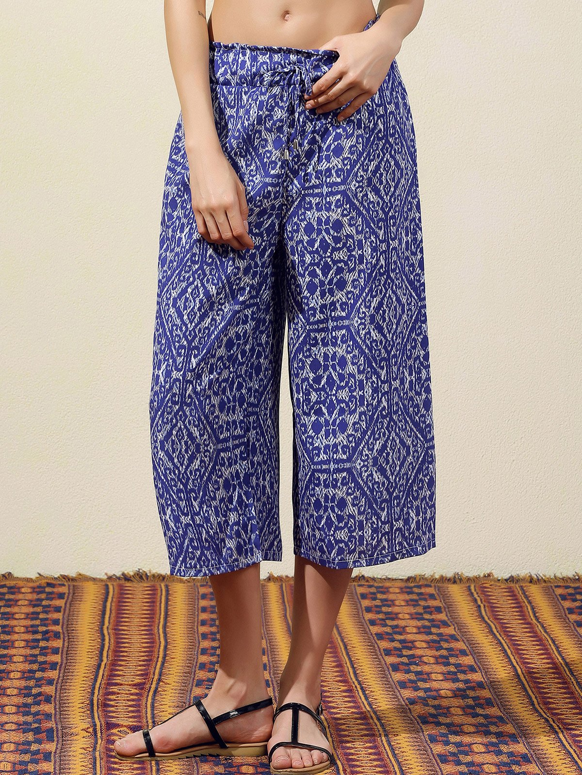 Wide Leg Blue Vintage Print Pants