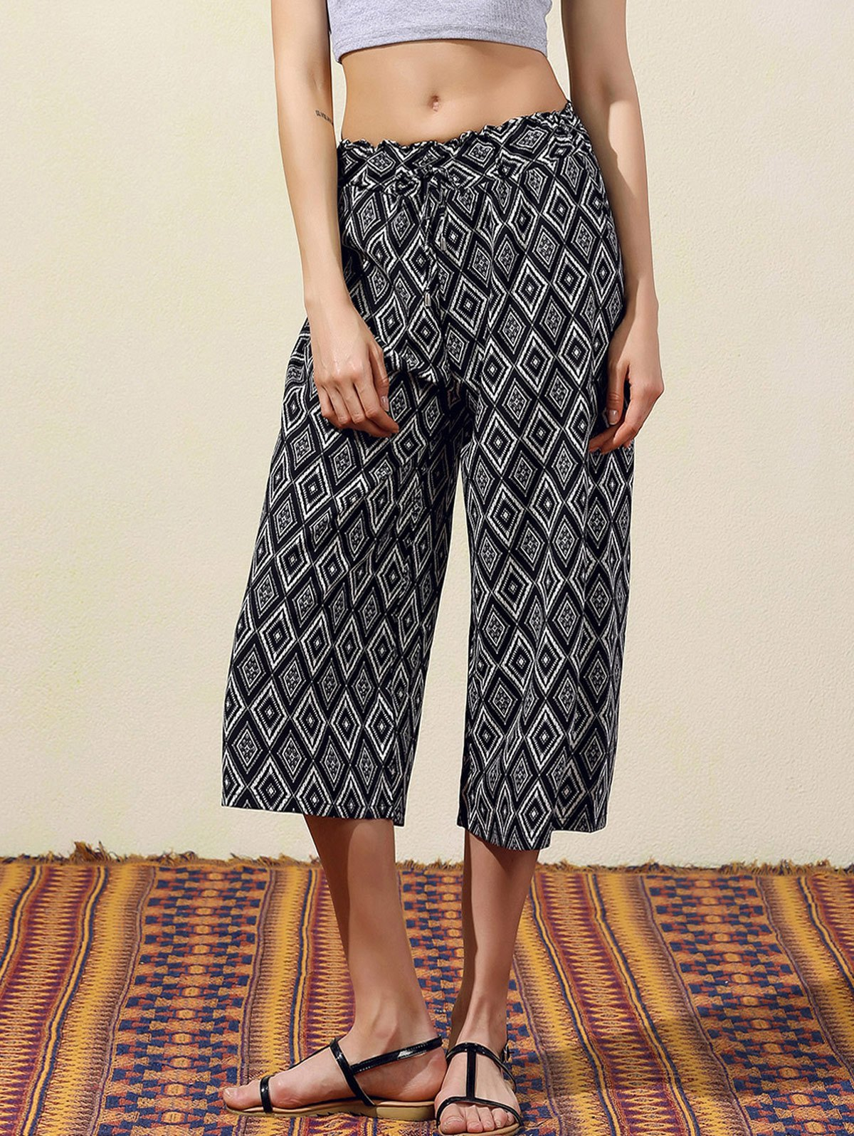 Argyle Print Wide Leg Capri Pants 179925303