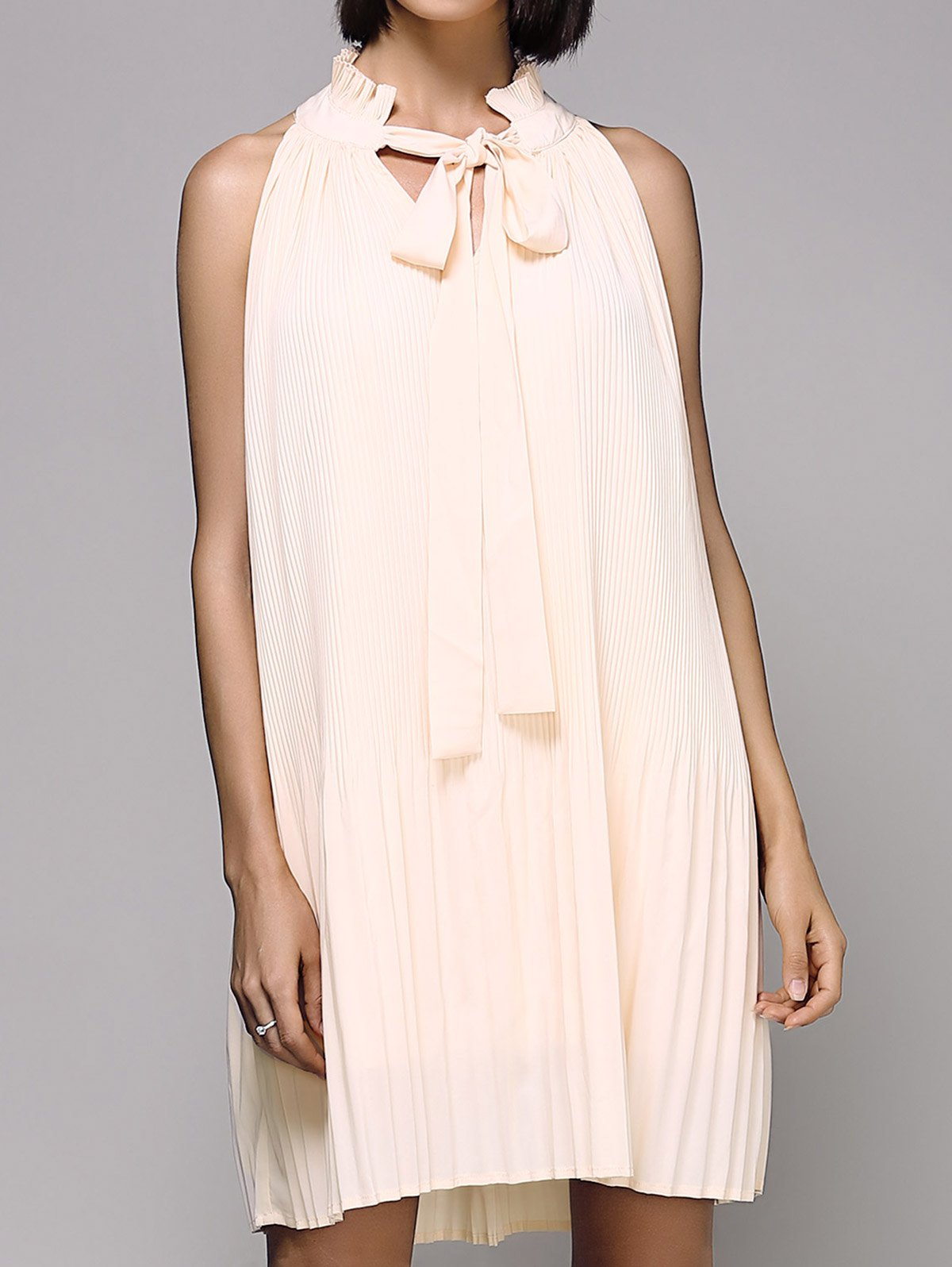 Drawstring Loose Folded Stand Neck Sleeveless DressClothes<br><br><br>Size: 2XL<br>Color: PINK