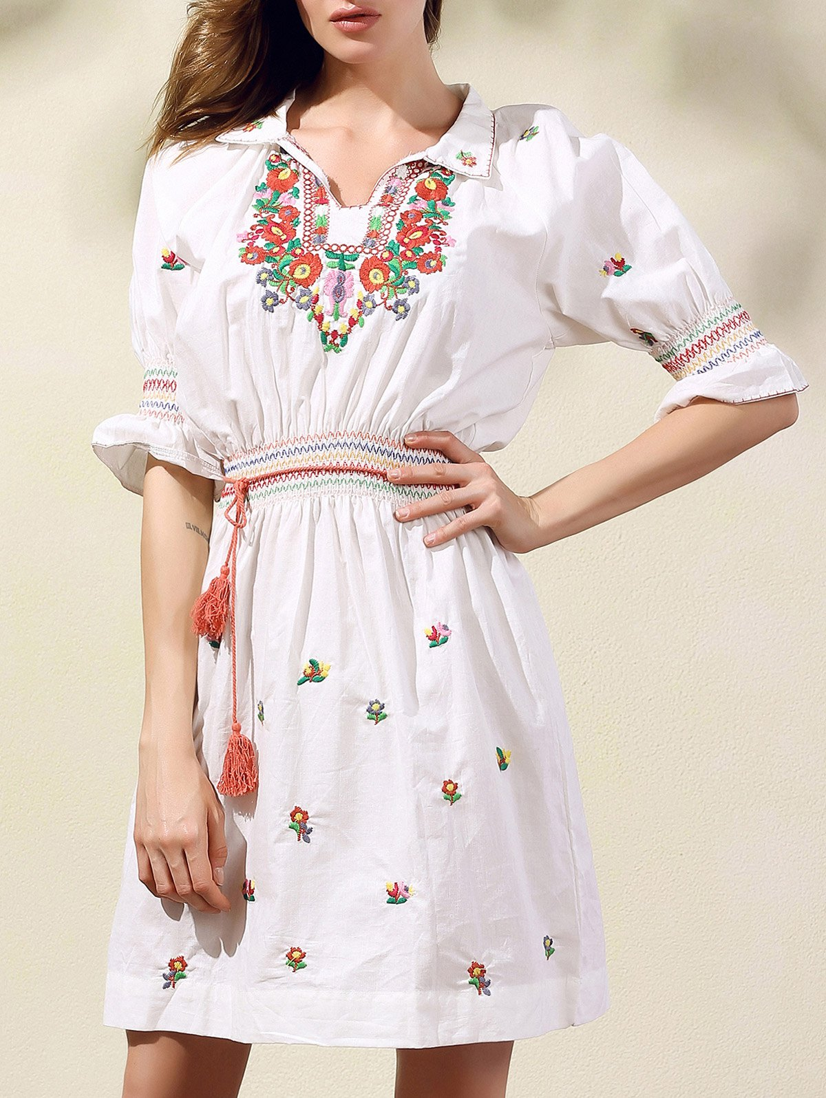 Shirt Collar Half Sleeve Ethnic Style Embroidery Dress