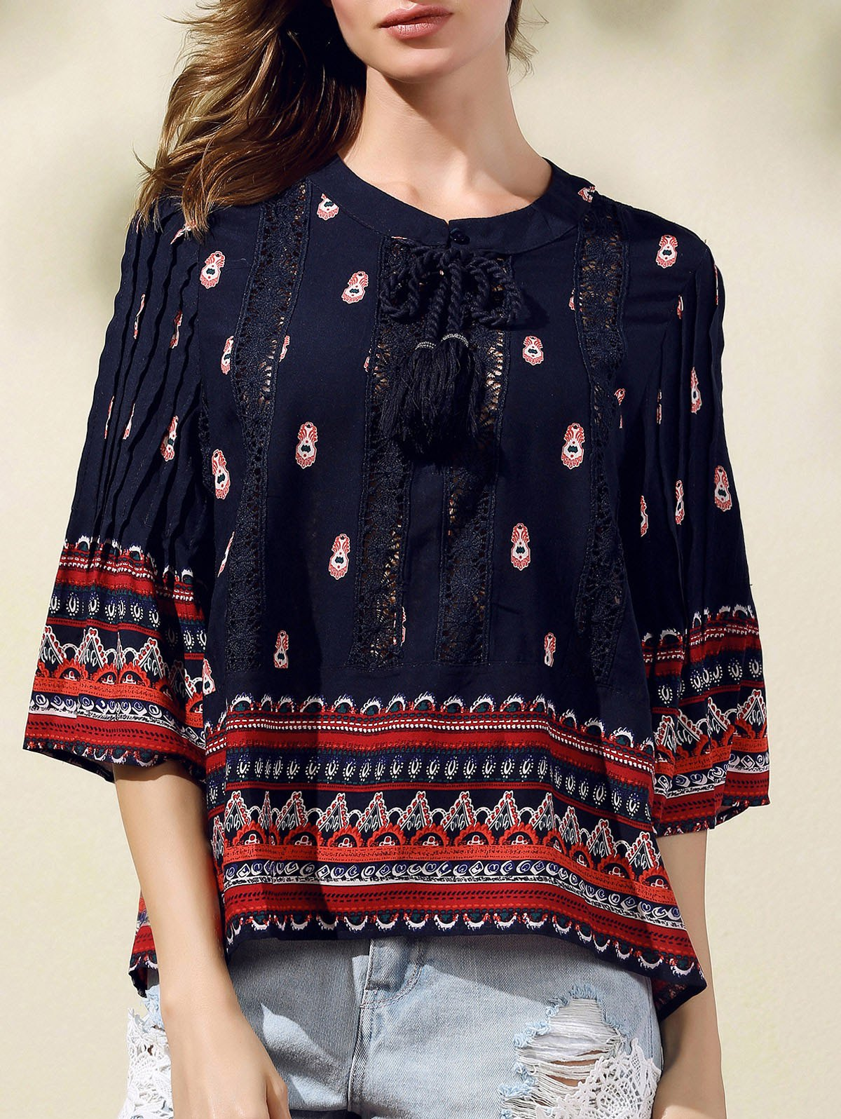 Round Neck 3/4 Sleeve Lace Spliced Printed Blouse