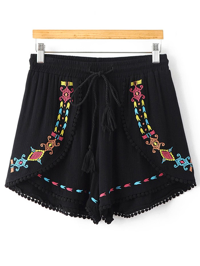 High Waisted Ethnic Embroidery Shorts