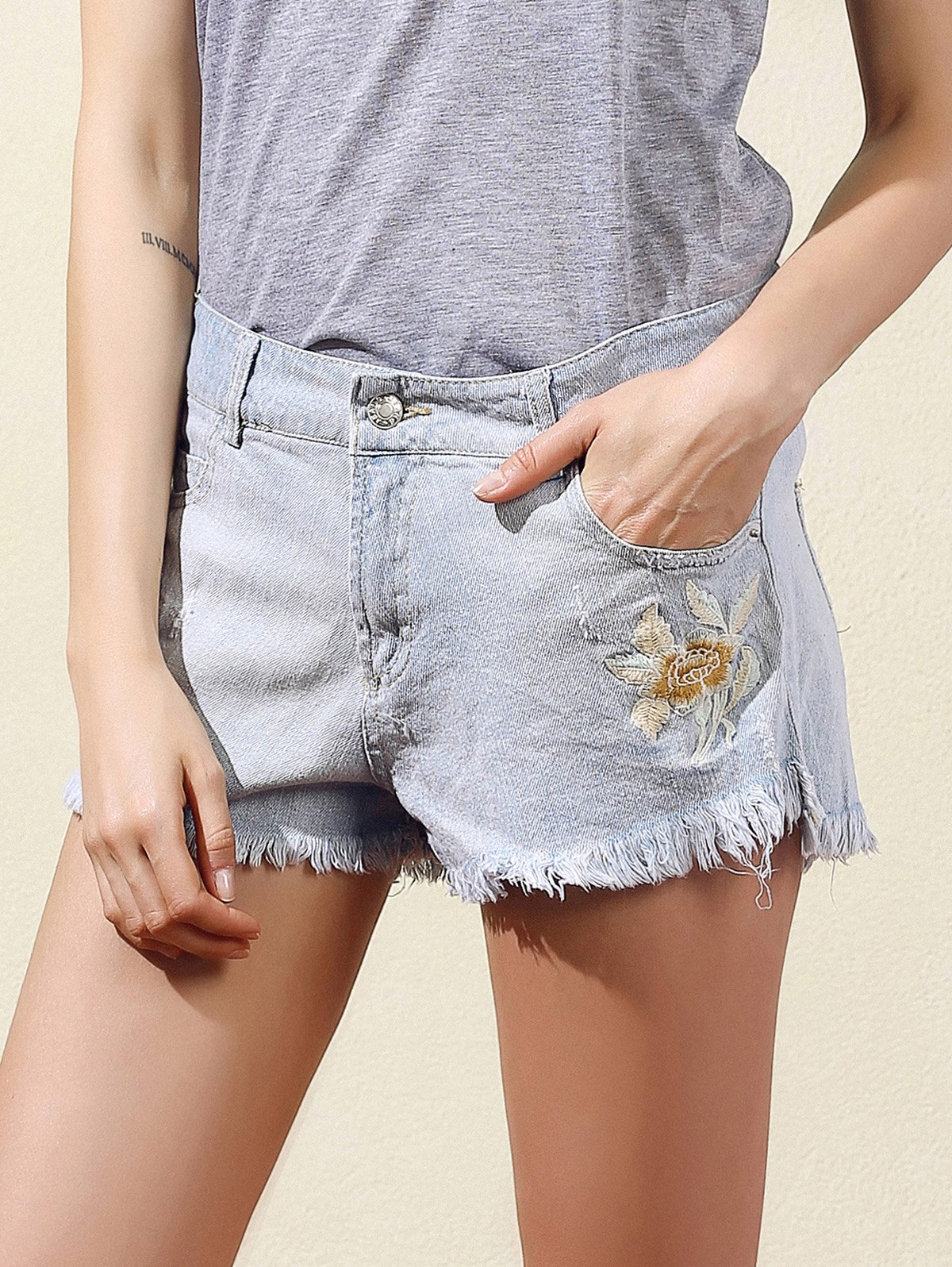 Embroidered Frayed Denim Shorts