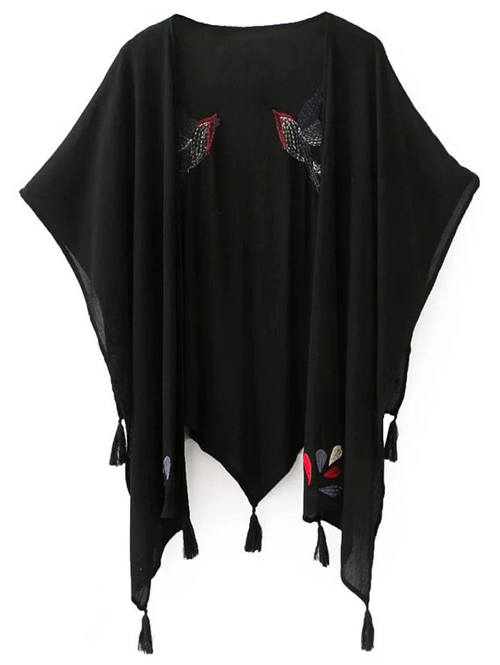 Half Sleeve Bird Embroidery Kimono Blouse