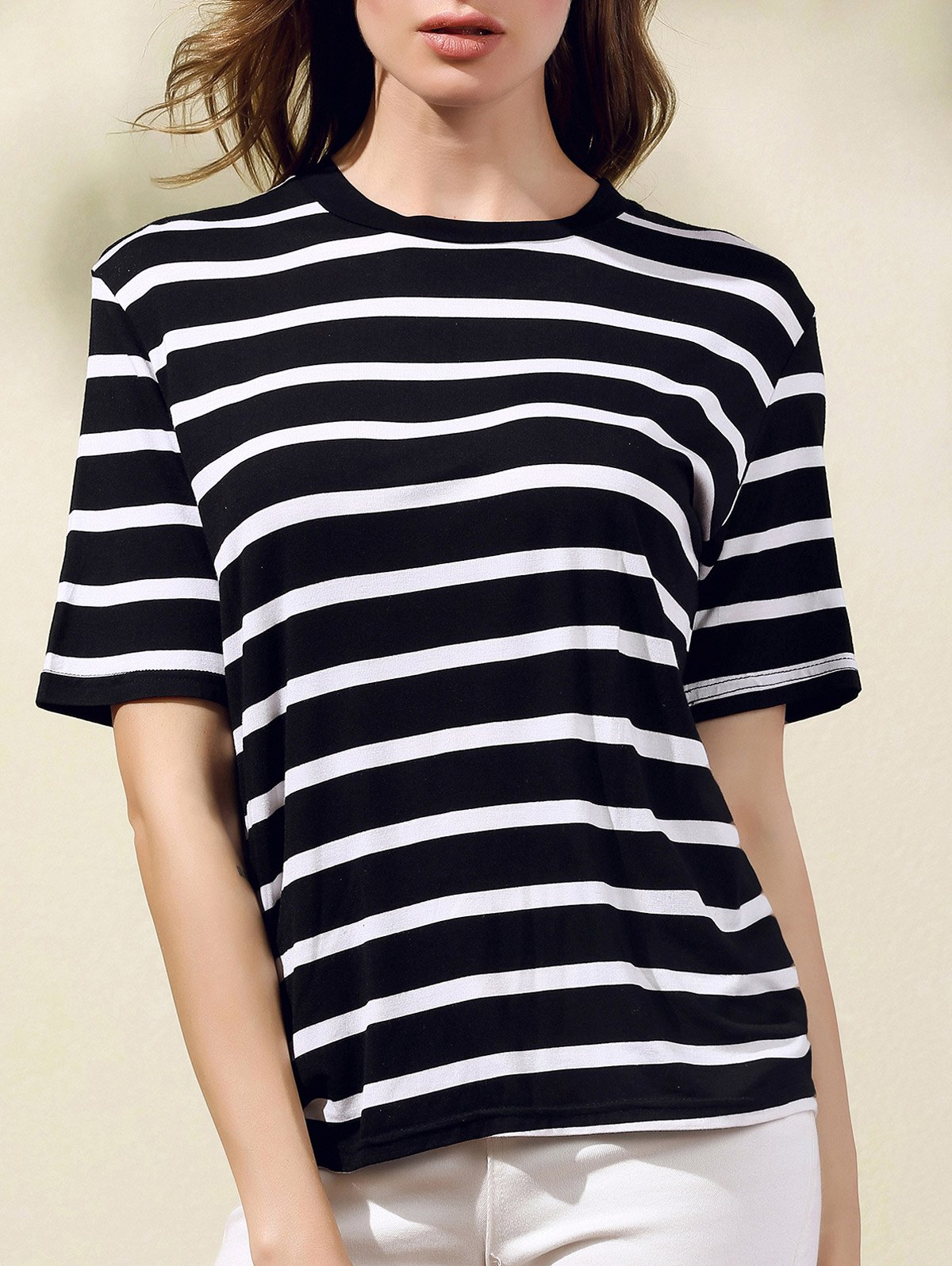 Round Neck Short Sleeve Stripes Print T-Shirt