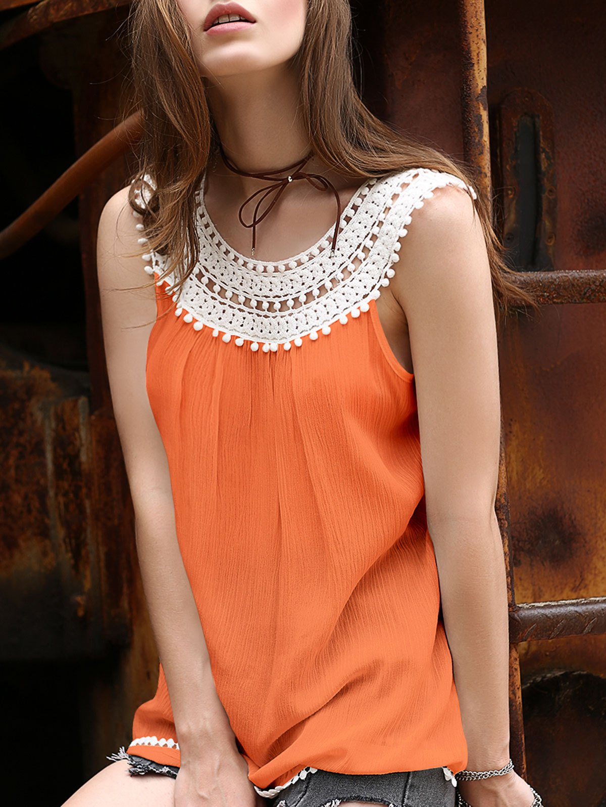 Round Neck Lace Spliced Hollow Out T-Shirt