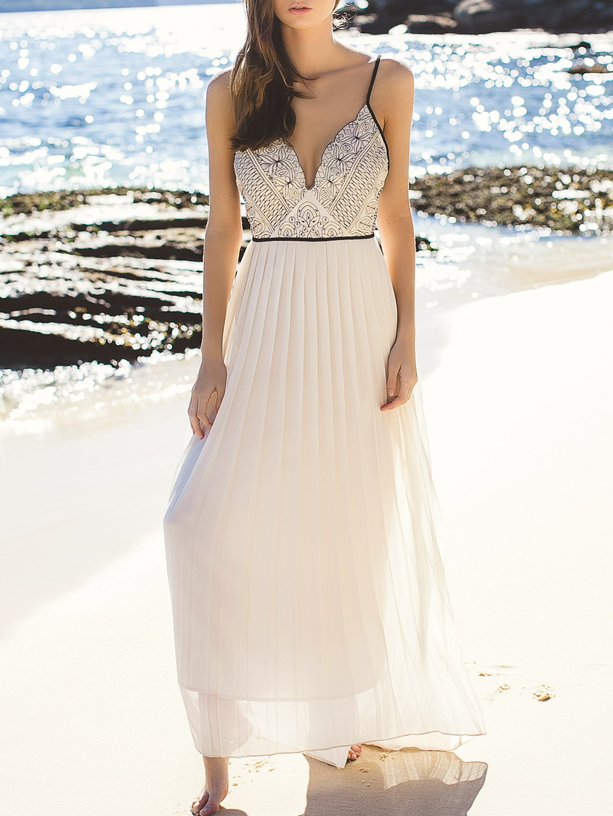 Elegant Embroidered Pleated Chiffon Flowing Dress