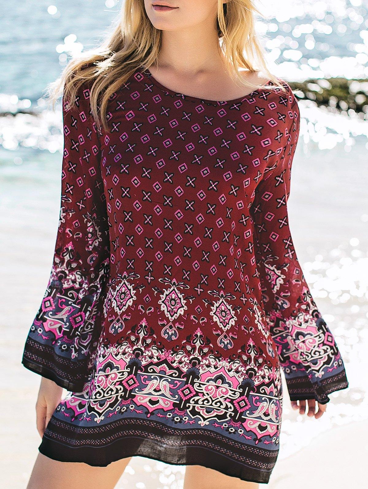 Stylish Round Neck Long Sleeve Printed Tunic Dress