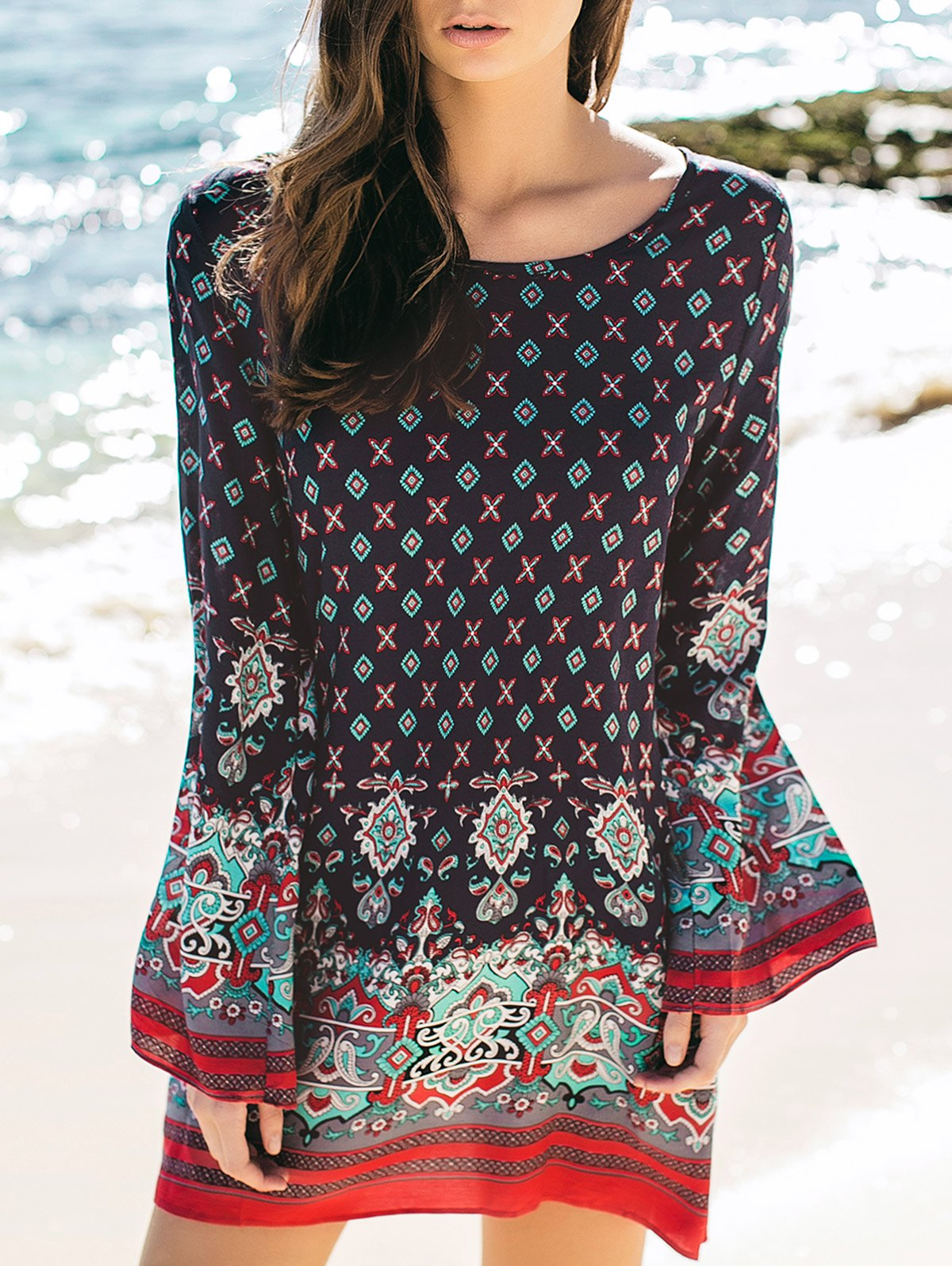 Chic Round Neck Long Sleeve Printed Tunic Dress
