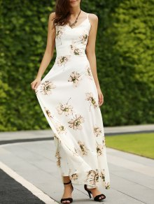 Backless Spaghetti Straps Floral Print Maxi Dress