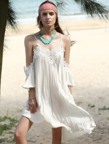 Pleated Cami Lace Spliced White Chiffon Dress - White S
