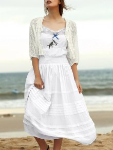 Embroidered Cami Ethnic Dress + Lace Blouse Twinset - White Xl