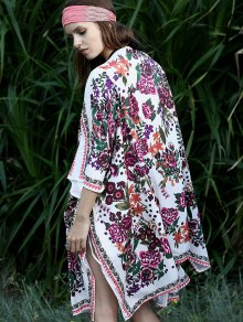 Floral Print Batwing Sleeve Loose Fitting Cape Blouse
