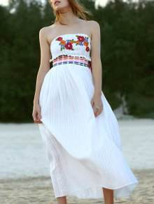Floral Embroidery Strapless Maxi Dress