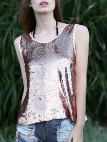 Sequin Spliced Cut Out Round Neck Tank Top - Pink L