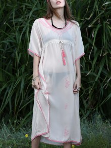 Buy Drawstring V-Neck Batwing Sleeve Cover - APRICOT ONE SIZE(FIT SIZE XS TO M)