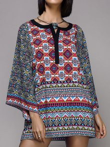 Wide Sleeve Printed Peasant Top