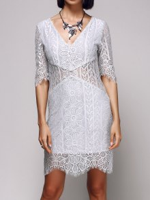 V-Neck Bodycon Lace Dress
