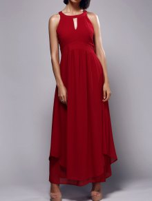 Pleated Keyhole Neckline High Waisted Maxi Dress - Red L