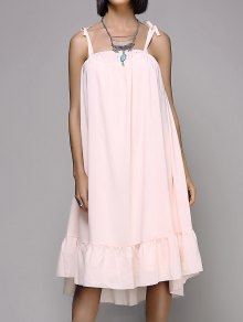 Loose Flounce Ruffles Spaghetti Straps Sleeveless Dress
