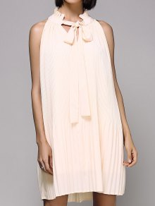 Drawstring Loose Folded Stand Neck Sleeveless Dress