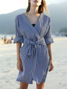 Striped Belted V Neck Long Sleeve Dress