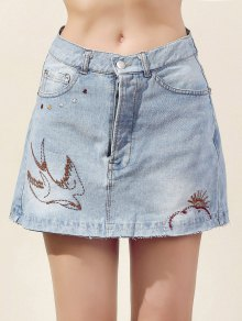 Embroidery Bleach Wash Denim Mini Skirt