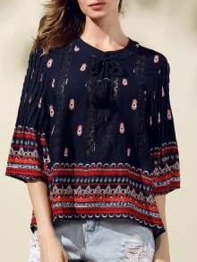 Lace Spliced Round Neck 3/4 Sleeve Printed Blouse - Deep Blue S