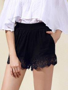 Lace Trim Black Shorts - Black