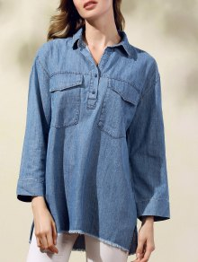 Two Pockets Oversized Denim Shirt