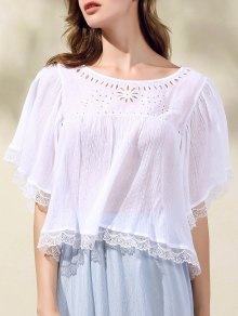 Hollow Out Scoop Neck Batwing Sleeve T-Shirt