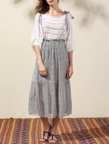 Back Criss-Cross Printed Suspender Skirt - Gray S
