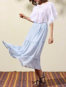 Crinkly Tiered Long Skirt - Light Blue S