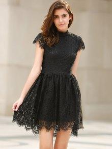 Black Lace Short Sleeve Backless Dress - BLACK XS