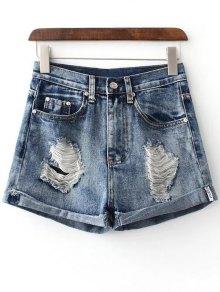 Hole Hemming Denim Shorts - Deep Blue