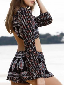 Printed Long Sleeve Crop Top + Shorts Twinset - S