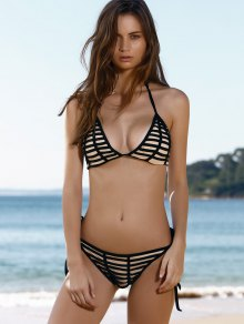 Striped Stringy Bikini Set