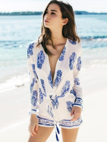 Printed Drawstring Design Playsuit
