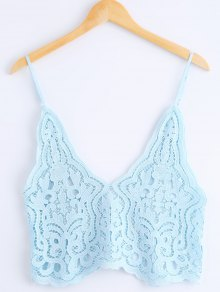 Knitted Spaghetti Straps Tank Top - Azure