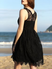 Full Lace Round Neck Sleeveless Flare Dress - Black L