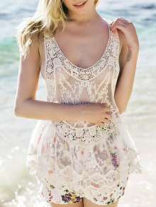 Sheer Crochet Tank Top - White