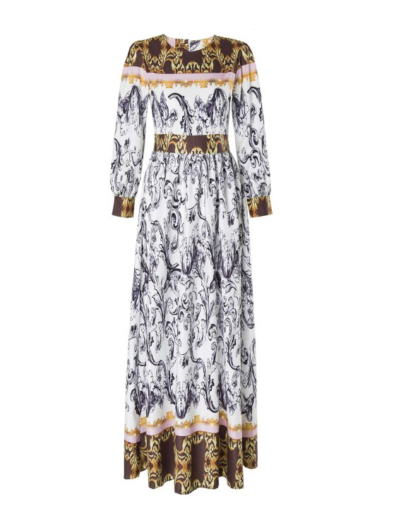 women Abstract Printed Long Sleeve Maxi Dress - MULTICOLOR L