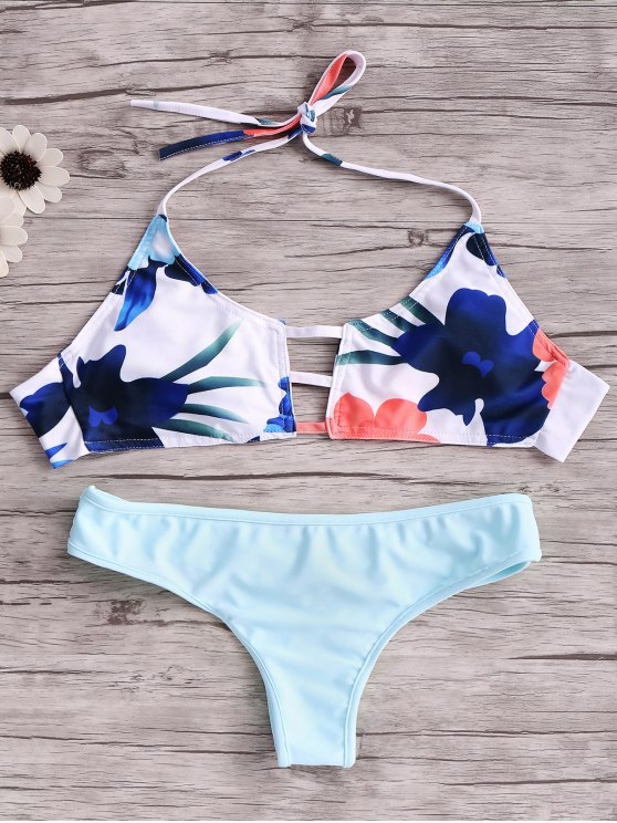 chic Print Cut Out Halter Bikini Set - BLUE S