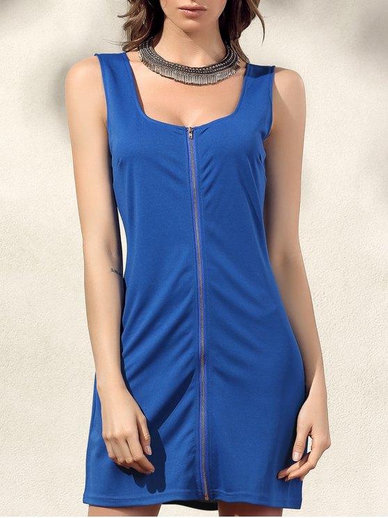 hot Bodycon Zip Dress - BLUE XL