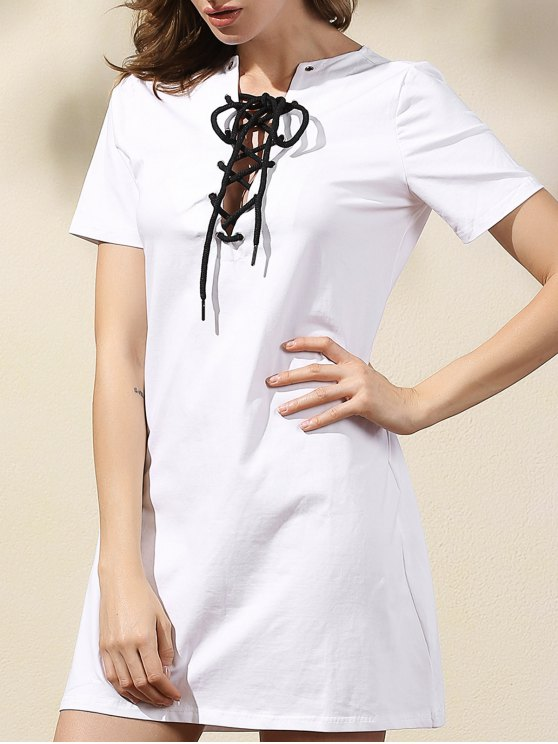 latest Lace-Up Solid Color Dress - WHITE M