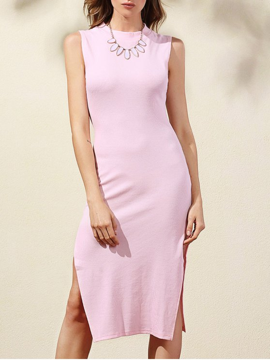 womens Side Slit Bodycon Dress - PINK XL