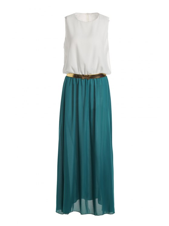 shops Color Block Sleeveless Round Neck Maxi Dress - WHITE AND GREEN S