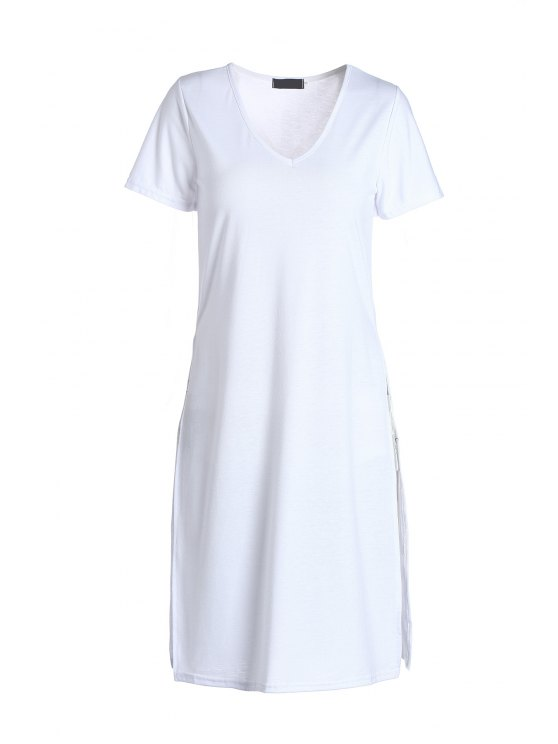 sale Side Slit Long T-Shirt - WHITE M